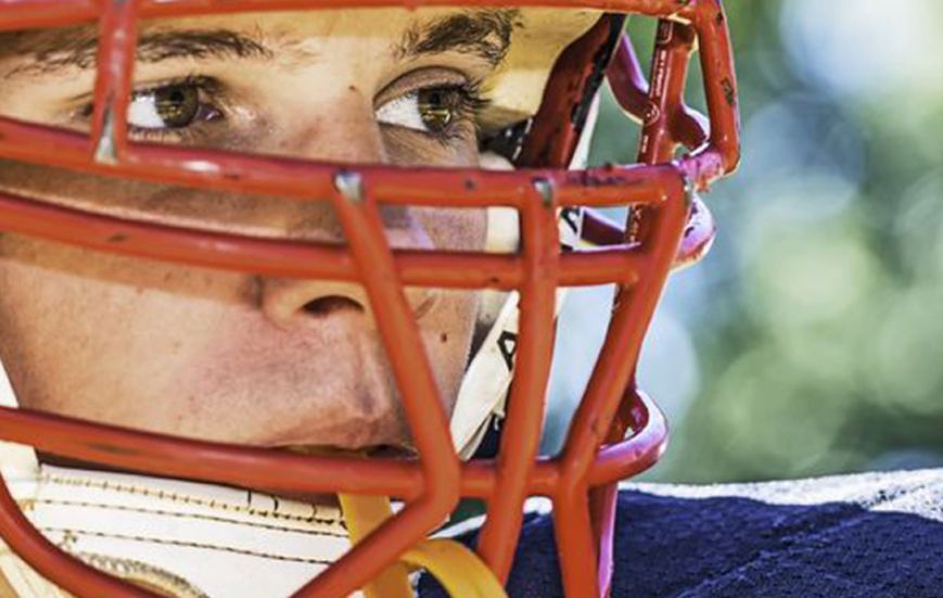 Sports Bullying Closeup of Football Players Eyes