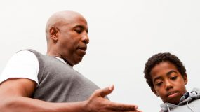 African American father Role-Playing About Bullying
